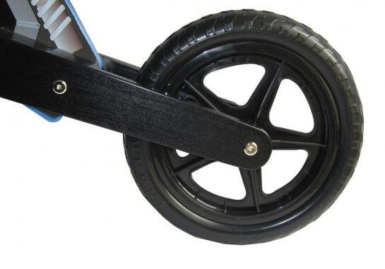 "Dunjo Holz Laufrad ""Cross Pro"" im Motorradlook - Blau"