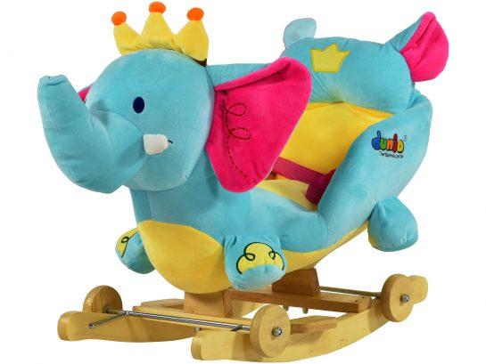 Dunjo® Schaukeltier Elefant mit Sitz, Rollen und Musik