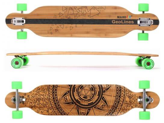 "MAXOfit Longboard ""GeoLines Bambus/Ahorn No. 40"""